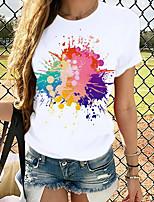 cheap -Women's T-shirt Graphic Tops - Print Round Neck Basic Daily Spring Summer White XS S M L XL 2XL