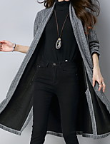 cheap -Women's Trench Coat Daily Regular Solid Colored Wine / Gray M / L / XL