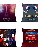 cheap -Set of 4 Home Cushion Cover Bastille Day Pillow Sofa Covers 45cmx45cm Bed Printed Pillow Case
