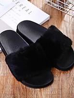 cheap -Women's Slippers & Flip-Flops Summer Flat Heel Open Toe Daily Faux Fur Black / Pink / Brown / Fuzzy Slippers