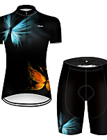 cheap -21Grams Women's Short Sleeve Cycling Jersey with Shorts Nylon Polyester Red+Blue Butterfly Gradient Bike Clothing Suit Breathable 3D Pad Quick Dry Ultraviolet Resistant Reflective Strips Sports Solid