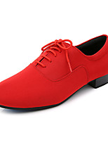 cheap -Men's Latin Shoes Faux Leather Lace-up Heel Thick Heel Customizable Dance Shoes Black / Red