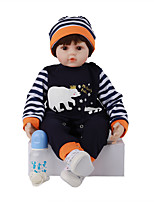 cheap -FeelWind 24 inch Reborn Doll Baby & Toddler Toy Reborn Toddler Doll Baby Boy Gift Cute Lovely Parent-Child Interaction Tipped and Sealed Nails Silicone Cotton Cloth LV063 with Clothes and Accessories