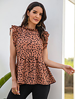 cheap -Women's Blouse Polka Dot Tops - Ruffle Print Round Neck Daily Summer Brown S M L XL