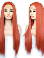 cheap -Synthetic Lace Front Wig Straight with Baby Hair Lace Front Wig Very Long Orange Synthetic Hair 22-26 inch Women's Cosplay Synthetic Easy dressing Red