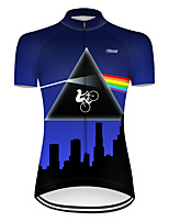 cheap -21Grams Women's Short Sleeve Cycling Jersey Nylon Polyester Black / Blue 3D Rainbow Bike Jersey Top Mountain Bike MTB Road Bike Cycling Breathable Quick Dry Ultraviolet Resistant Sports Clothing