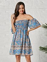cheap -Women's Sheath Dress Knee Length Dress - Half Sleeve Geometric Summer Casual 2020 Blue S M L XL XXL