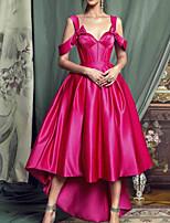 cheap -A-Line Elegant Minimalist Wedding Guest Prom Dress Sweetheart Neckline Sleeveless Asymmetrical Satin with Pleats 2020