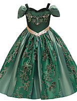cheap -Princess Anna Flower Girl Dress Girls' Movie Cosplay A-Line Slip Green Dress Christmas Halloween Children's Day Polyester