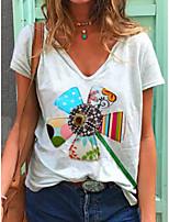 cheap -Women's T-shirt Graphic Print V Neck Tops White