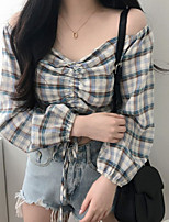 cheap -Women's Blouse Plaid Tops V Neck Daily Black Blue One-Size
