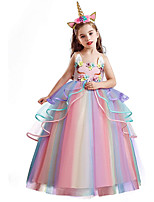 cheap -Princess Unicorn Dress Flower Girl Dress Girls' Movie Cosplay A-Line Slip White / Purple / Pink Dress Children's Day Masquerade Tulle Polyester