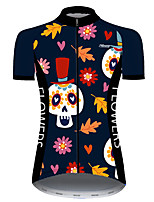 cheap -21Grams Women's Short Sleeve Cycling Jersey Nylon Polyester Black / Orange Skull Floral Botanical Funny Bike Jersey Top Mountain Bike MTB Road Bike Cycling Breathable Quick Dry Ultraviolet Resistant