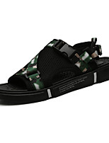 cheap -Men's Summer Classic / Casual Outdoor Beach Sandals Walking Shoes Microfiber Breathable Non-slipping Black / Rainbow / Gray Camouflage
