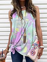 cheap -Women's T-shirt Tie Dye Tops Round Neck Daily Summer Wine Purple Yellow S M L XL 2XL 3XL 4XL 5XL