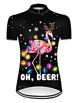 cheap -21Grams Women's Short Sleeve Cycling Jersey Nylon Polyester Black / Red Flamingo Animal Floral Botanical Bike Jersey Top Mountain Bike MTB Road Bike Cycling Breathable Quick Dry Ultraviolet Resistant