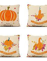 cheap -Set of 4 Farm Harvest Thanksgiving Theme Pillow Case Cushion Cover Lemon Summer Linen Home