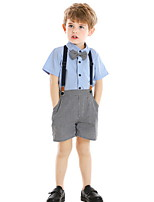 cheap -Kids Toddler Boys' Basic Houndstooth Solid Colored Short Sleeve Clothing Set White