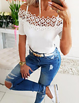 cheap -Women's T-shirt Solid Colored Tops Strap White Black / Short Sleeve / Holiday