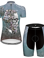cheap -21Grams Women's Short Sleeve Cycling Jersey with Shorts Nylon Polyester Blue Novelty Skull Floral Botanical Bike Clothing Suit Breathable 3D Pad Quick Dry Ultraviolet Resistant Reflective Strips