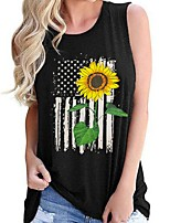 cheap -Women's Tank Top Floral Round Neck Tops Summer Black Purple Khaki