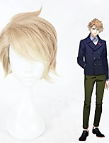 cheap -Cosplay Wig Itaru Chigasaki Curly Cosplay Halloween Asymmetrical With Bangs Wig Short Blonde Synthetic Hair 12 inch Men's Anime Cosplay Color Gradient Mixed Color