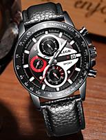 cheap -LIGE Men's Sport Watch Quartz Modern Style Stylish Leather Black Water Resistant / Waterproof Analog Casual Outdoor - Black Black / White