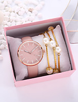 cheap -Women's Quartz Watches New Arrival Fashion Pink PU Leather Quartz Blushing Pink Chronograph Creative Casual Watch 1 set Analog