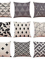cheap -9 pcs Linen Pillow Cover, Grid Pattern Geometric Pattern Casual Modern Square Traditional Classic