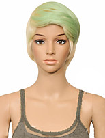 cheap -Synthetic Wig Straight Layered Haircut Wig Short Mint Green Synthetic Hair 10 inch Women's Women Synthetic Sexy Lady Mixed Color hairjoy