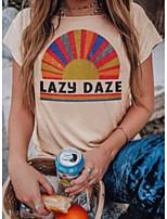 cheap -Women's T-shirt Letter Round Neck Tops Summer Khaki