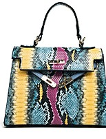 cheap -Women's Zipper PU Top Handle Bag Leather Bags Snakeskin Black / Blue / Yellow
