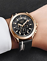 cheap -LIGE Men's Sport Watch Quartz Modern Style Stylish Leather Water Resistant / Waterproof Calendar / date / day Noctilucent Analog Casual Cool - Black+Gloden Black / Stainless Steel
