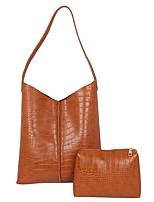 cheap -Women's PU Top Handle Bag Leather Bags Solid Color Dark Brown / Black / Khaki