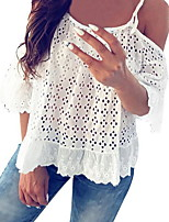 cheap -Women's Solid Colored T-shirt Daily White