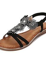 cheap -Women's Sandals Summer Flat Heel Open Toe Daily PU Black / Blue / Silver