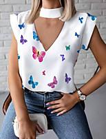 cheap -Women's Blouse Animal Butterfly Tops V Neck Daily White Black Red S M L XL 2XL 3XL