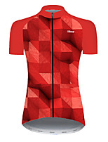 cheap -21Grams Women's Short Sleeve Cycling Jersey Nylon Polyester Black / Red Plaid Checkered 3D Gradient Bike Jersey Top Mountain Bike MTB Road Bike Cycling Breathable Quick Dry Ultraviolet Resistant