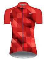Недорогие -21Grams Жен. С короткими рукавами Велокофты Нейлон Полиэстер Черный / красный Клетки 3D Градиент Велоспорт Джерси Верхняя часть Горные велосипеды Шоссейные велосипеды / Слабоэластичная / Дышащий