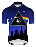 cheap -21Grams Men's Short Sleeve Cycling Jersey Nylon Polyester Black / Blue 3D Rainbow Bike Jersey Top Mountain Bike MTB Road Bike Cycling Breathable Quick Dry Ultraviolet Resistant Sports Clothing Apparel