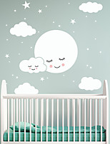 cheap -Cartoon Happy Face White Cloud Star Wall Stickers Plane Wall Stickers Decorative Wall Stickers PVC Home Decoration Wall Decal Wall Decoration 1pc