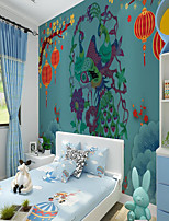 cheap -Custom Self Adhesive Mural Wallpaper Festival Peacock Children Cartoon Style Suitable For Bedroom  School Party Room Wallcovering