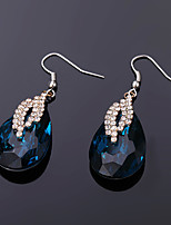cheap -Women's Earrings Pear Cut Drop Stylish Luxury Platinum Plated Gold Plated Earrings Jewelry Dark Blue For Christmas Gift Daily Work Festival 1 Pair