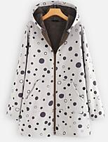 cheap -Women's Parka Color Block Polyester White / Yellow M / L / XL