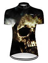 cheap -21Grams Women's Short Sleeve Cycling Jersey Nylon Polyester Black / White Patchwork Novelty Skull Bike Jersey Top Mountain Bike MTB Road Bike Cycling Breathable Quick Dry Ultraviolet Resistant Sports