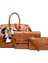 cheap -Women's Zipper PU Bag Set Bag Sets Solid Color Wine / Black / Brown