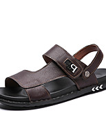 cheap -Men's Fall Casual Daily Outdoor Sandals PU Breathable Non-slipping Shock Absorbing Dark Brown / Black / Blue Color Block
