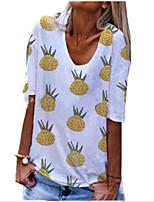 cheap -Women's T-shirt Graphic Round Neck Tops Summer White Blue Yellow