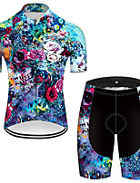cheap -21Grams Men's Short Sleeve Cycling Jersey with Shorts Nylon Polyester Blue Novelty Skull Floral Botanical Bike Clothing Suit Breathable 3D Pad Quick Dry Ultraviolet Resistant Reflective Strips Sports