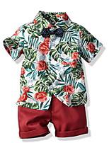 cheap -Kids Toddler Boys' Basic Print Short Sleeve Clothing Set Red
